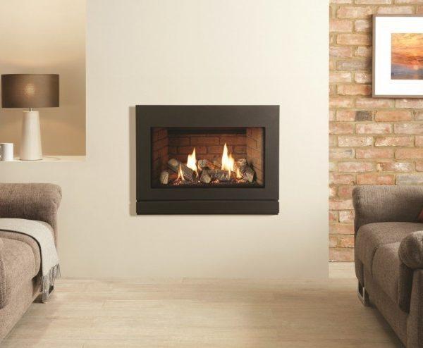 Gazco Riva2 670 gas fire with brick interior and Designio2 steel front in graphite