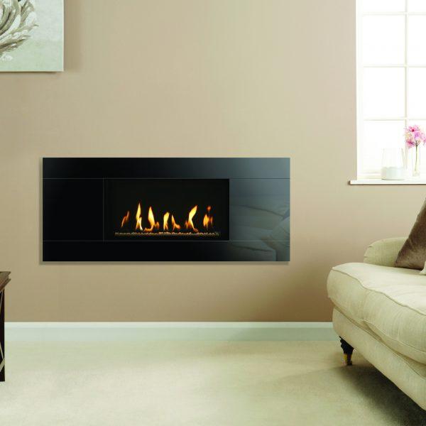 Gazco Studio 1 Slimline with black reeded interior and white stone fuel bed