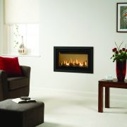 Gazco Studio 1 Slimline balanced flue gas fire with vermiculite interior and profi frame in anthracite