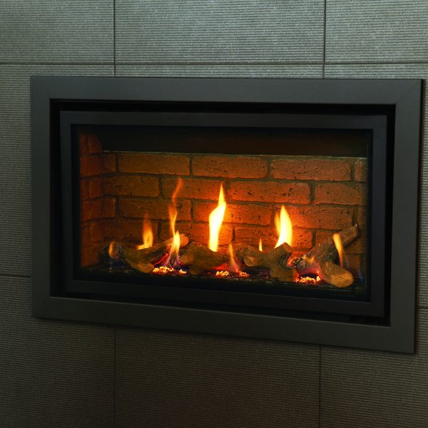 Gazco Studio 1 Slimline balanced flue gas fire - brick interior with Profil frame in Anthracite
