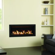 Gazco Studio 2 slimline with back glass lining and edge kit