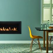 Gazco Studio 2 Slimline with Black glass lining and Profil frame