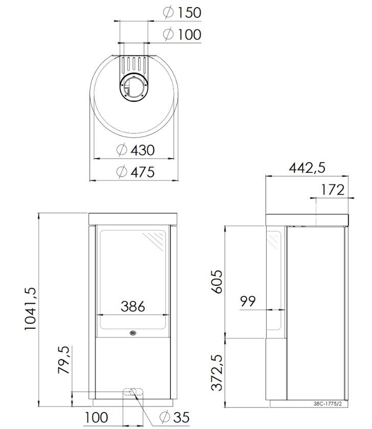 Dru Circo balanced flue gas fire dimensions