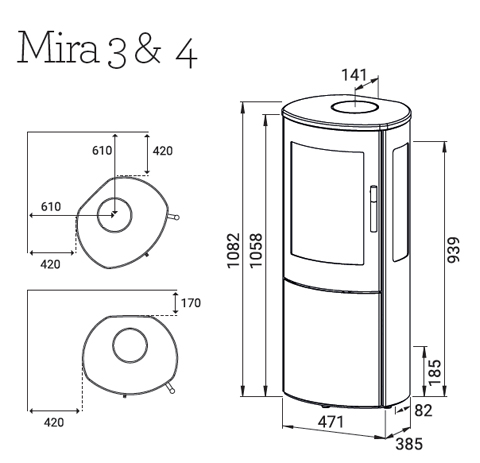 Lotus Mira 3 & 4 wood burning stove dimensions
