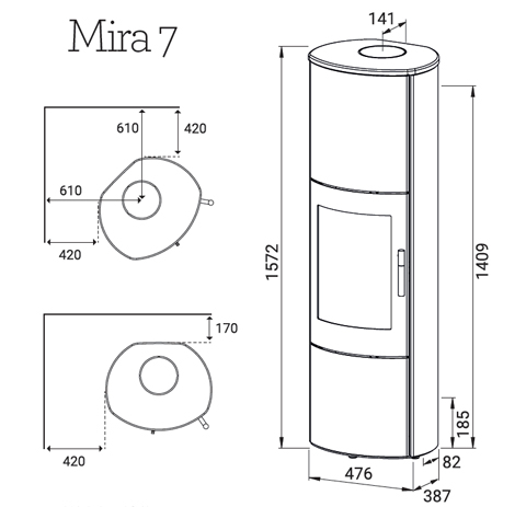 Lotus Mira 7 wood burning stove dimensions