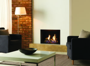 Gazco Riva2 500 Edge gas fire with black glass lining