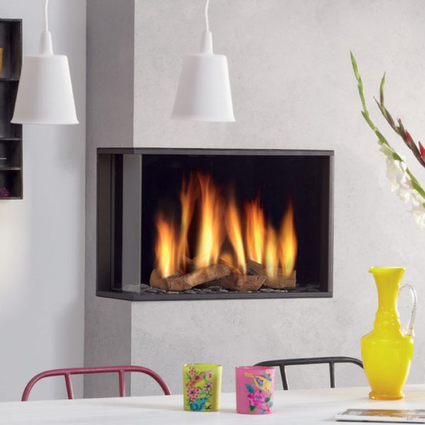 DRU Global 60 Corner BF is a medium-sized corner gas fire with balanced flue technology. - West Country Fires DRU Gas Fires Southampton