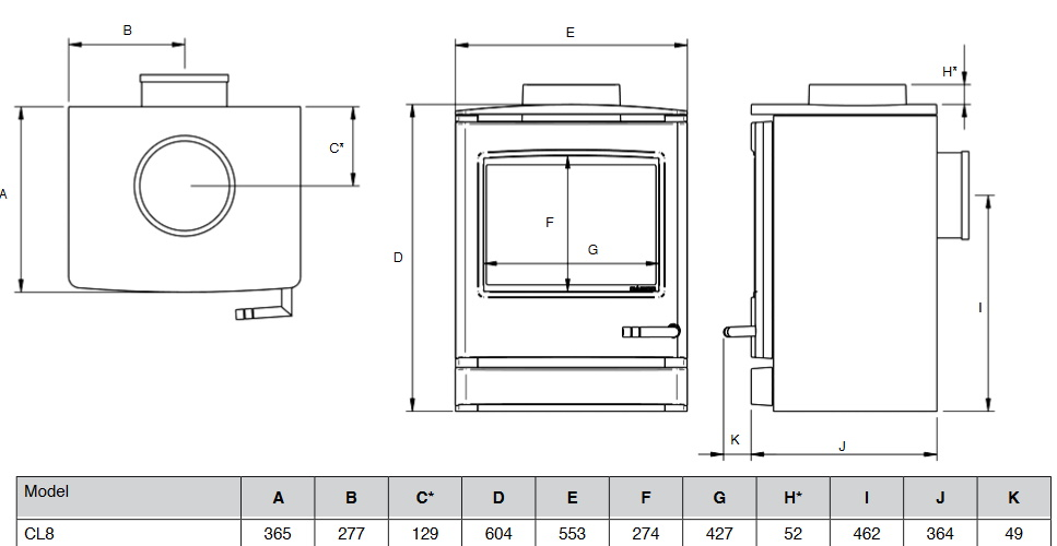 Yeoman CL8 gas stove dimensions