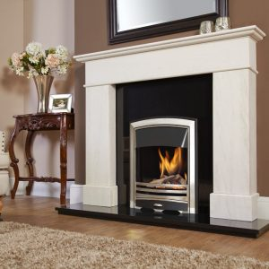 Verine Passion HE gas fire with Embrace silver plated fascia