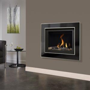 Michael Miller Celena Slimline balanced flue gas fire with black enamel interior and black nickel and chrome fascia