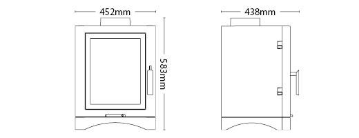 Broseley Evolution 5 gas stove dimensions