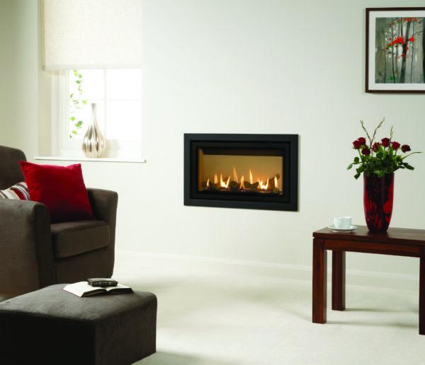 Gazco Studio 1 Slimline balanced flue gas fire with vermiculite interior and profi frame in anthracite