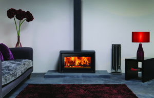 Stovax Studio 1 freestanding stove with glass top and decorative square section flue cover