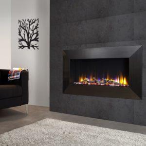 Celsi Ultiflame VR Instinct electric fire with black chrome frame