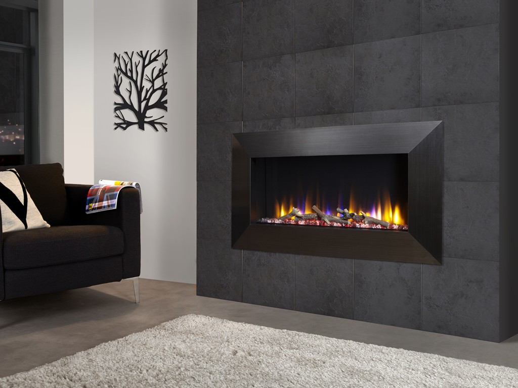 Celsi Ultiflame VR Instinct electric fire with black chrome frame