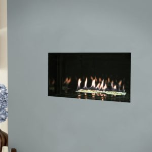 Verine Atina HE frameless gas fire wit white stones