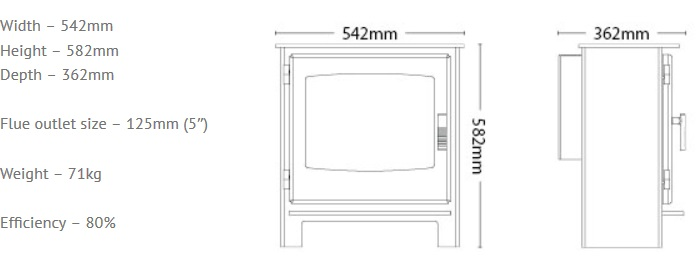 Broseley Desire 7 gas stove dimensions