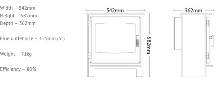 Broseley Desire 7 gas stove dimensions