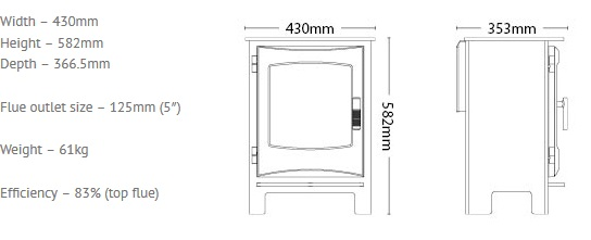 Broseley Ignite 5 gas stove dimensions