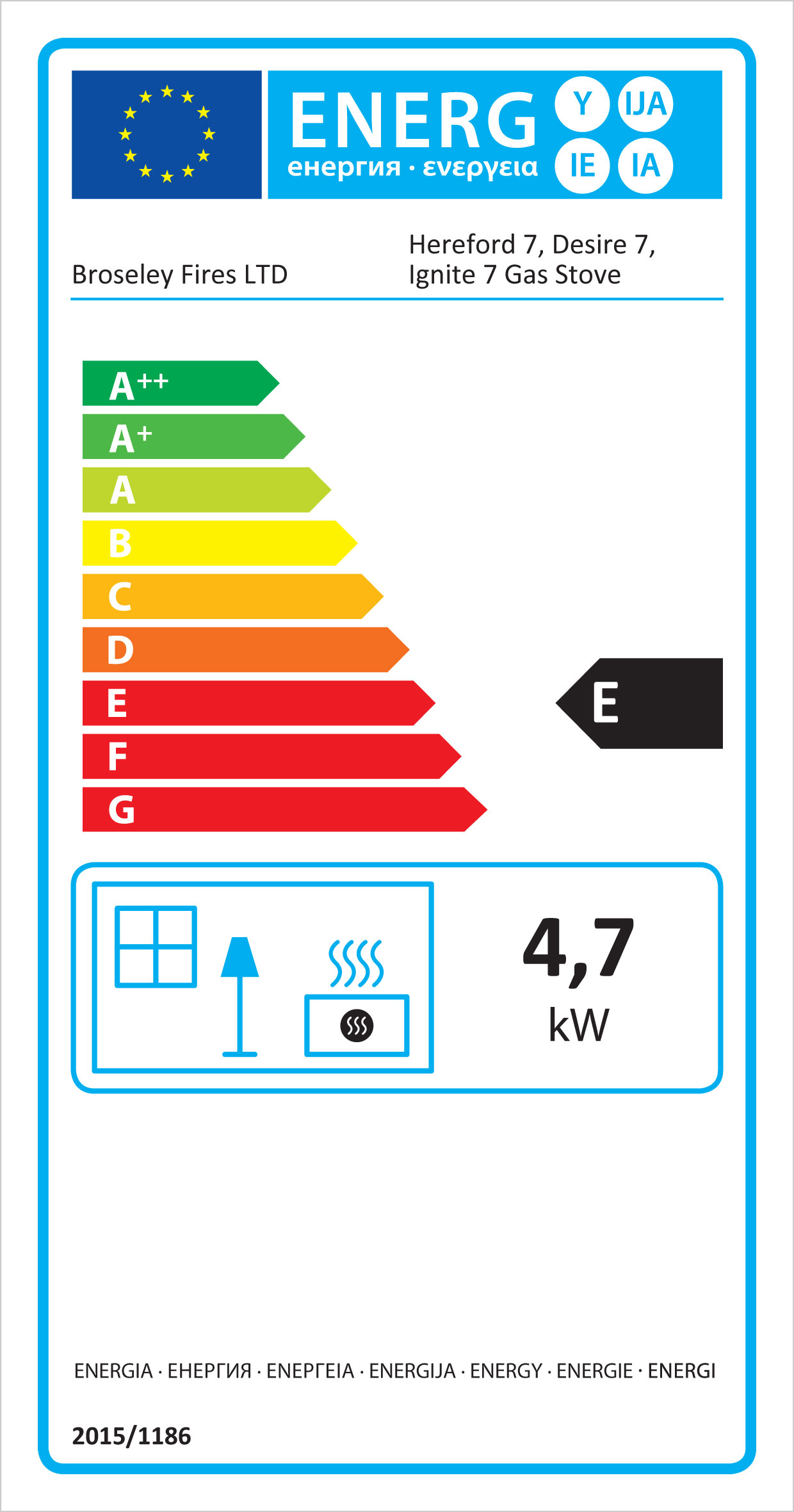 Broseley Ignite 7 gas efficiency labels