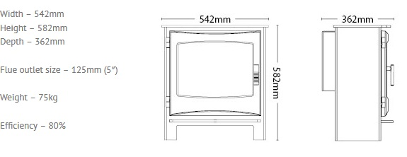 Broseley Ignite 7 gas stove dimensions