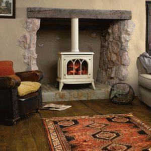 Gazco Ashdon electric fire in enamel ivory