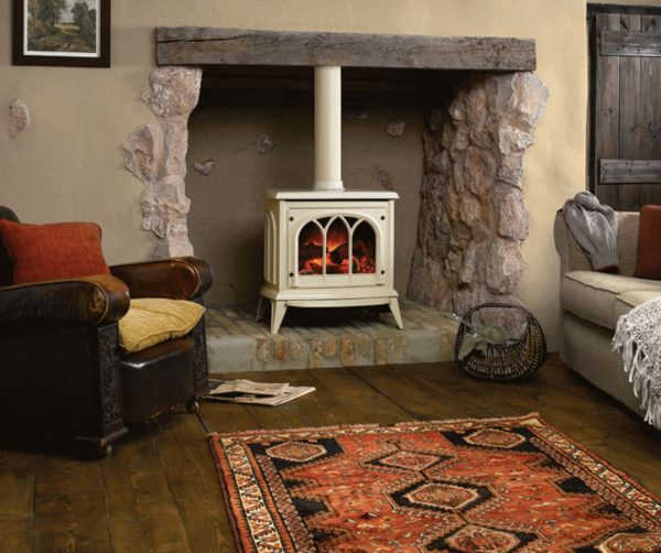 Gazco Ashdon electric fire in enamel ivory
