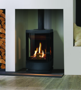 Gazco Loft gas stove with plinth