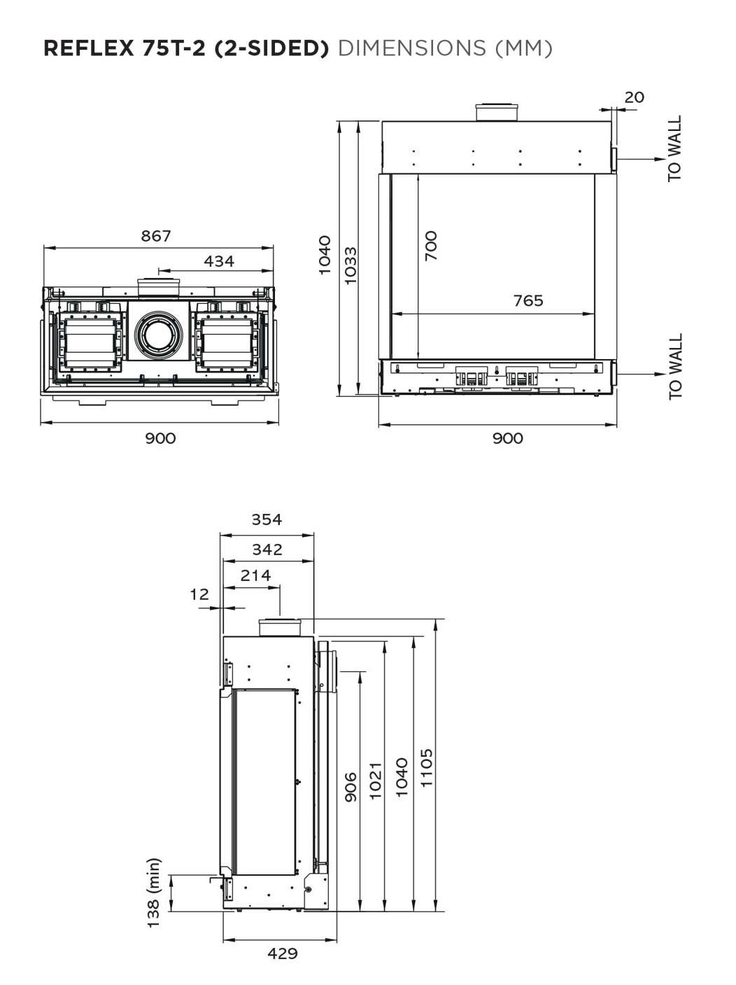 Gazco Reflex 75T-2 two sided gas fire dimensions