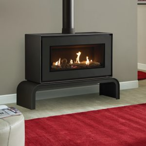 Gazco Studio 2 Gas freestanding with matching bench and black reeded lining