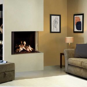 Gazco Reflex 75T-2 two sided gas fire with Echoflame Black Glass Lining