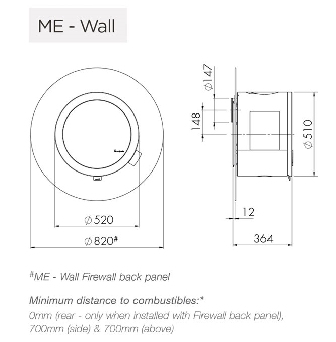 Nordpeis ME wall hung and wall hung with back panel dimensions