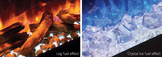 Alternatively, the Crystal-Ice effect fuel bed (pictured right) creates an ultra-contemporary vibe, particularly when paired with the blue flame setting and the many vibrant Chromalight up-lighting colour options. Whichever fuel bed you choose, the fire's easily removable glass front allows you to quickly mix and match any of the assortment of effects you wish, for your own bespoke display.