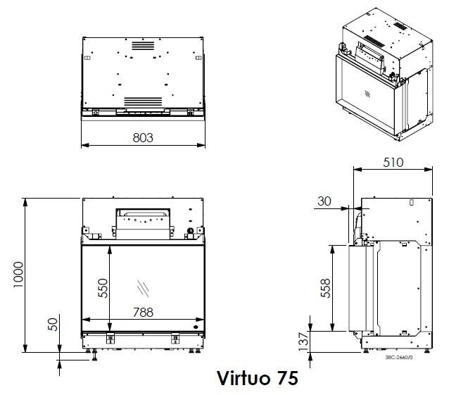 DRU Virtuo 75 inset electric fire dimensions