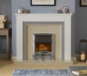 Dimplex Glencoe inset electric fire in chrome