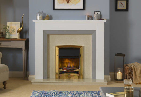Dimplex Glencoe inset electric fire in brass