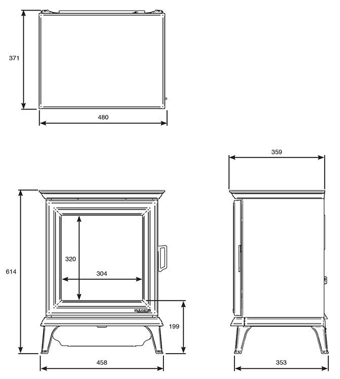 Gazco Sheraton 5 Electric stove Dimensions