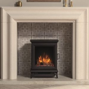 Gazco Sheraton 5 Electric stove with Log & Pebble fuel effect and Amber flame setting with Grafton Limestone mantel