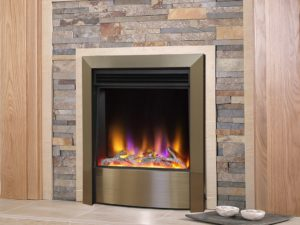 Celsi Electriflame_vr_contemporary_inset electric fire in satin_champagne